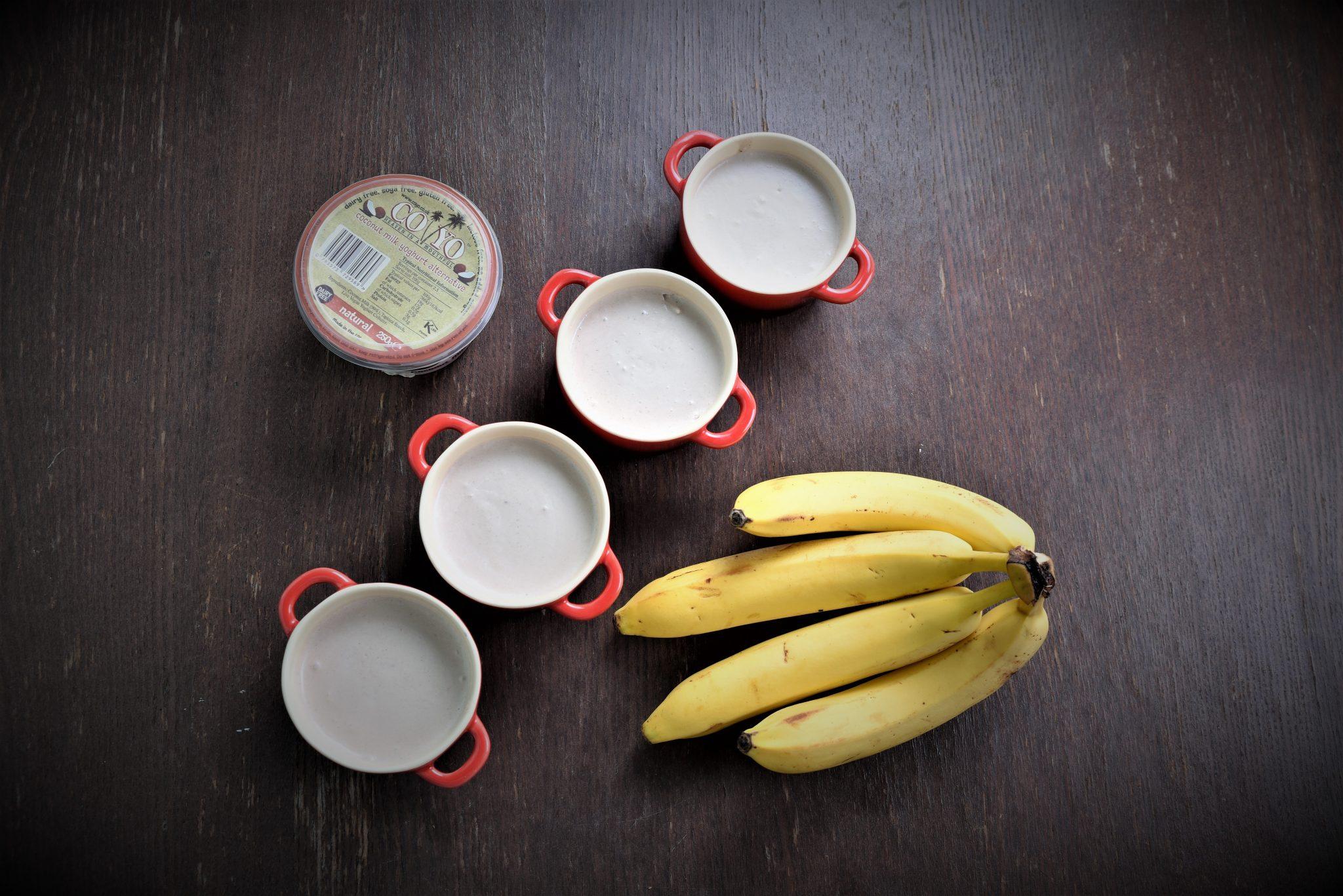 3 ingredient vegan banana and coconut milk yoghurt mousse birds eye