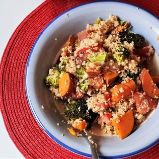 Sweet potato, broccoli and tomato couscous