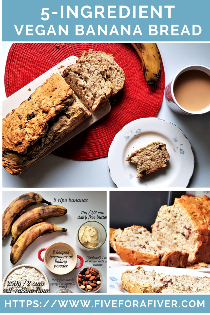 5-ingredient vegan banana bread - fiveforafiver.com