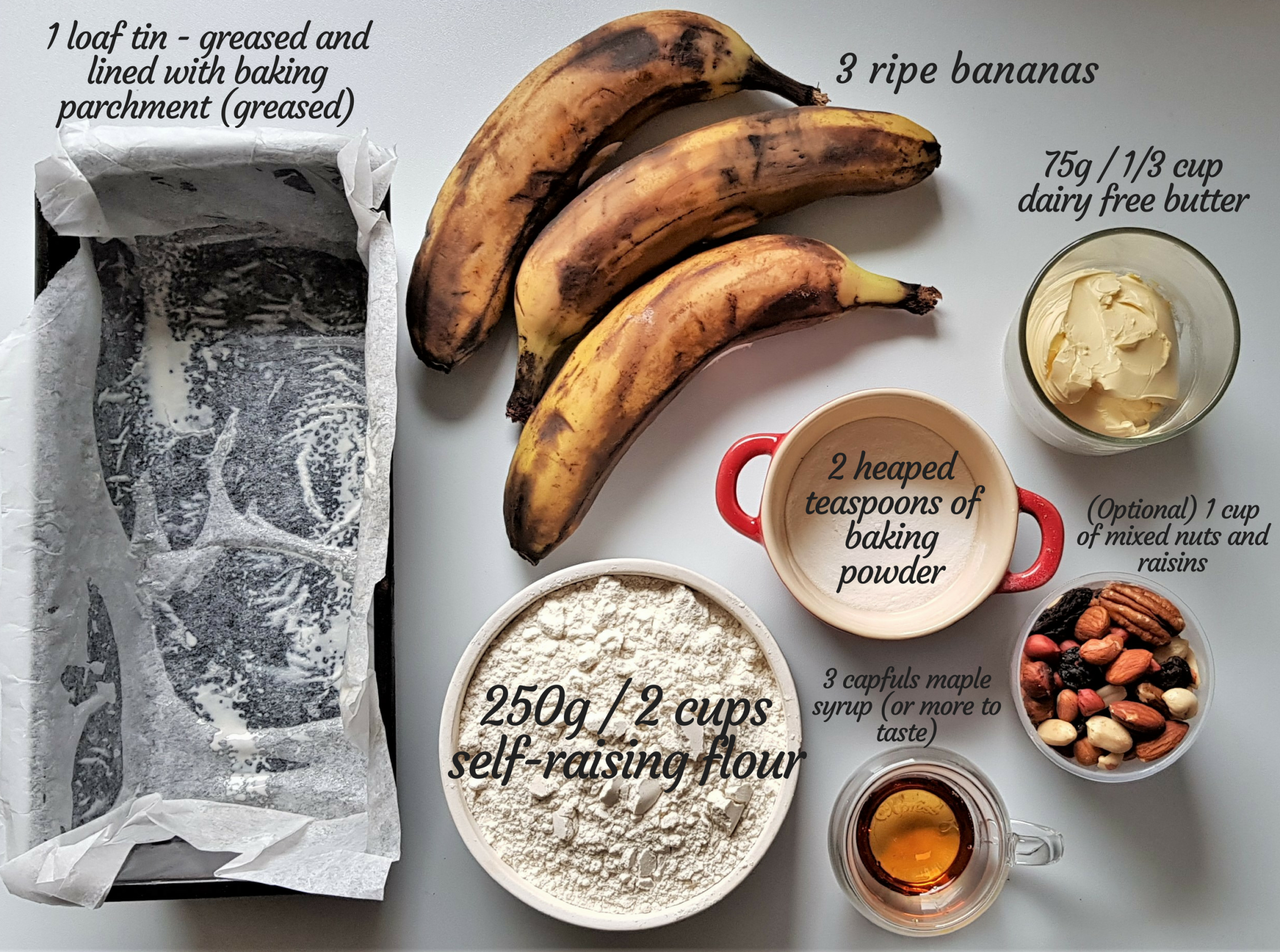 5-ingredient vegan banana cake - ingredients