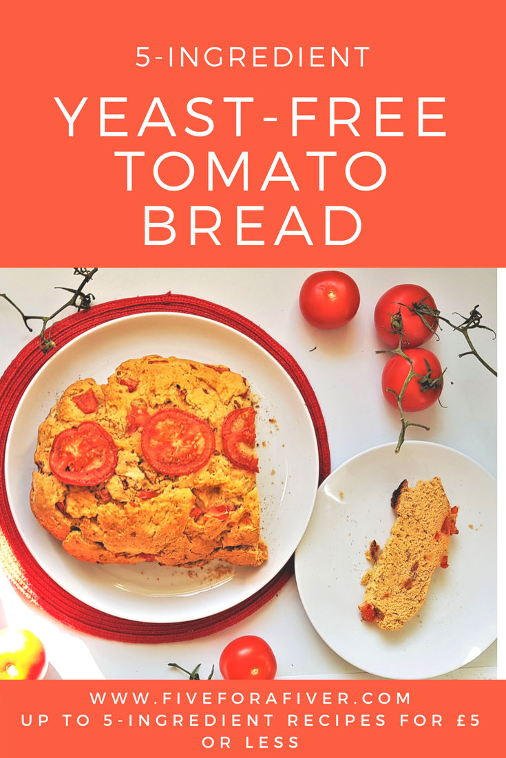 5-ingredient yeast free tomato bread - fiveforafiver.com