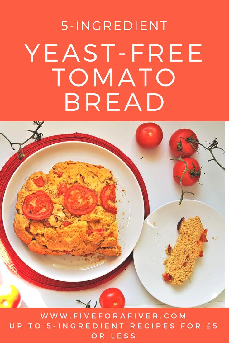 5-ingredient yeast free tomato bread - fiveforafiver.com