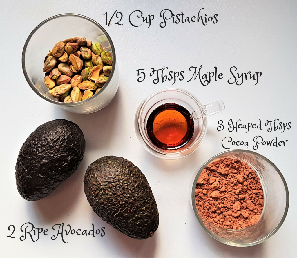 Chocolate Pistachio and Avocado Mousse - Ingredients - Five for a Fiver