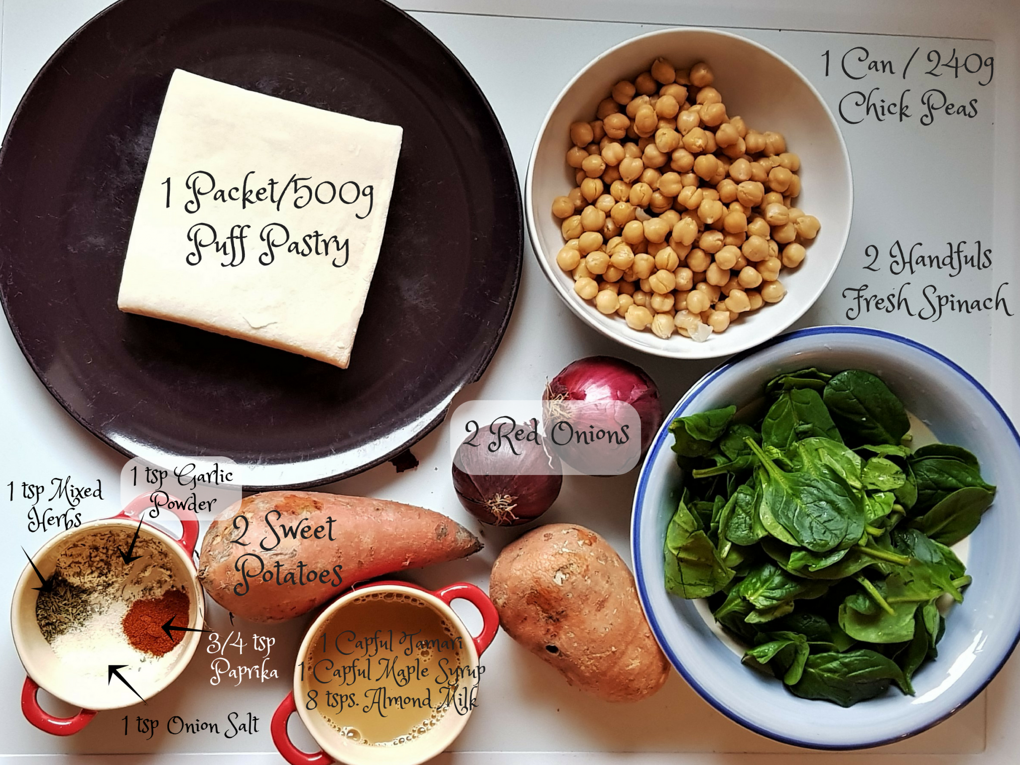 Sweet potato and chickpea sausage rolls - ingredients